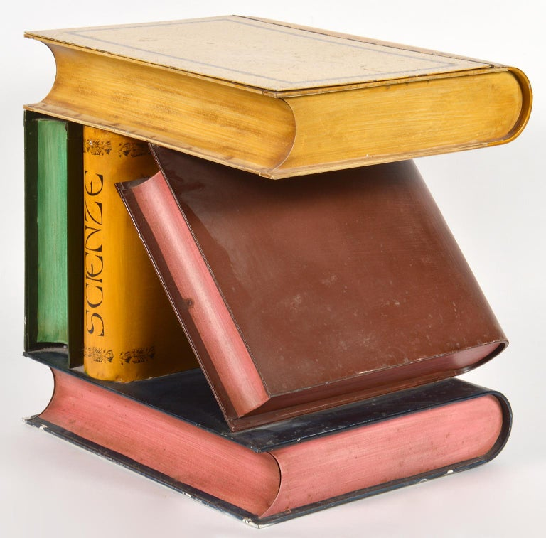 Mid-20th Century Italian Painted Tole Faux Stacked and Leaning Books Side Table In Good Condition In Ft. Lauderdale, FL
