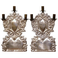 Mid-20th Century Italian Pair of Carved Brass Silvered Three-Light Candelabras
