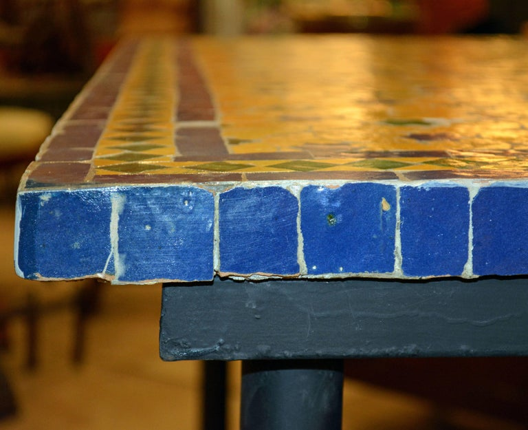 Mid-20th Century Italian Pompeian Style Iron Table with Ceramic Mosaic Top 7