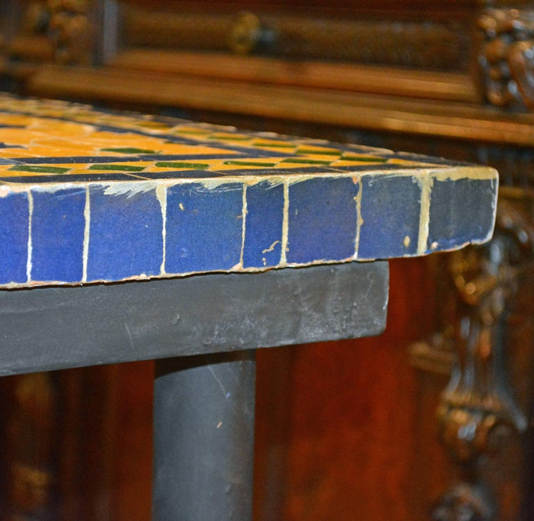 Mid-20th Century Italian Pompeian Style Iron Table with Ceramic Mosaic Top 8