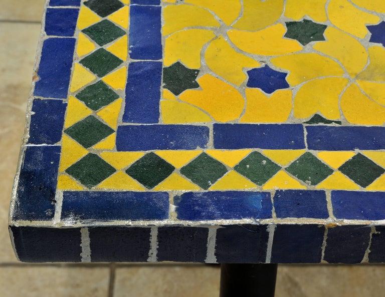 Mid-20th Century Italian Pompeian Style Iron Table with Ceramic Mosaic Top 2
