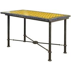 Mid-20th Century Italian Pompeian Style Iron Table with Ceramic Mosaic Top
