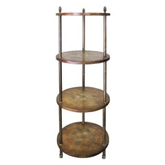 Mid-20th Century Italian Round Four-Tier Étagère, Possibly Florentine