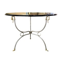 Mid-20th Century Italian Round Gueridon Table with Swans & Glass Top, circa 1970