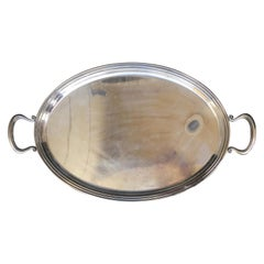 Mid-20th Century Italian Silver Drinks Oval Serving Tray