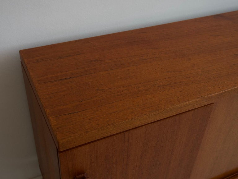 Mid-20th Century Italian Teak Sideboard with Brass Details For Sale 10