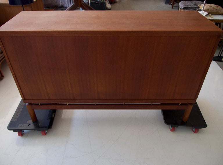 Mid-20th Century Italian Teak Sideboard with Brass Details For Sale 11