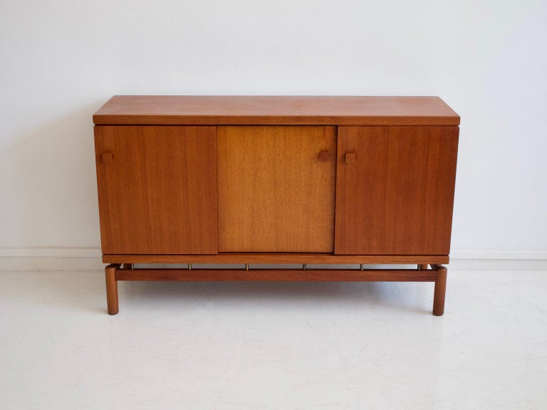 Mid-Century Modern Mid-20th Century Italian Teak Sideboard with Brass Details For Sale