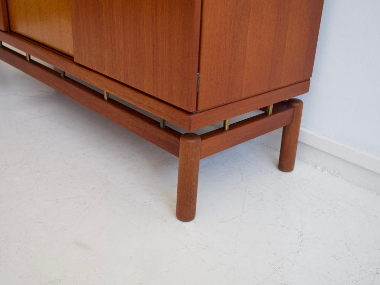 Mid-20th Century Italian Teak Sideboard with Brass Details For Sale 4