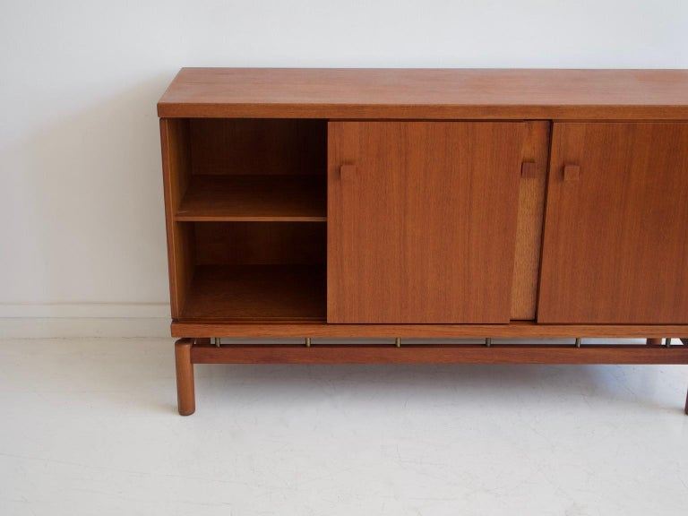 Mid-20th Century Italian Teak Sideboard with Brass Details For Sale 5