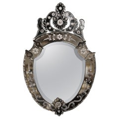 Mid-20th Century Italian Venetian Beveled Mirror with Painted Floral Etching