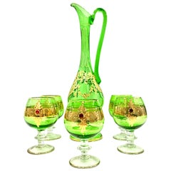 Mid-20th Century Italian Venetian Blown Glass and 22-Karat Gold Drinks Set of 6