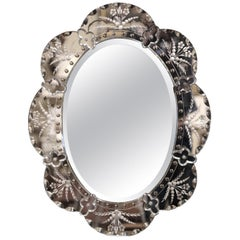 Mid-20th Century Italian Venetian Wall Mirror with Painted Floral Etching