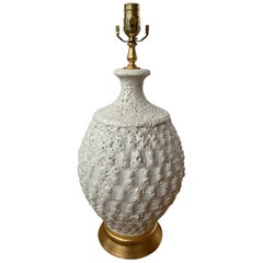 Mid-20th Century Italian White Pottery Lamp with Bubbly Texture, Giltwood Base