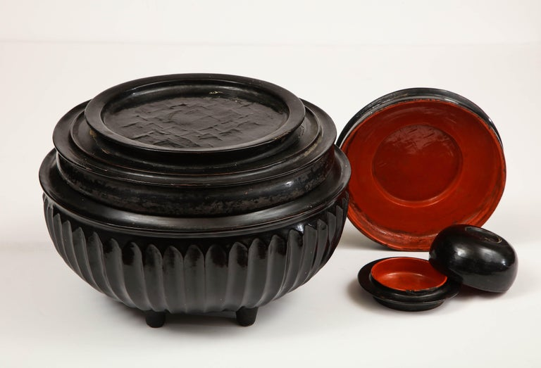 Mid-20th Century Japanese, Lacquer on Cane, Food Box 6