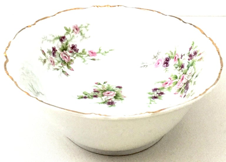 Hand-Painted Mid-20th Century Japanese Porcelain & 22-Karat Gold Dinnerware Serving Piece S/4 For Sale