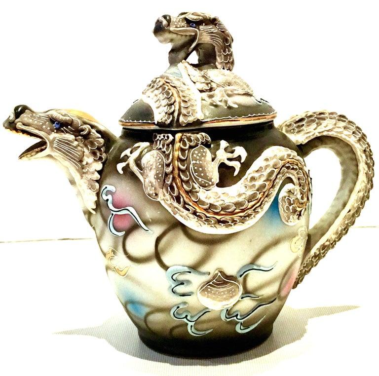 Mid-20th Century Japanese Porcelain Hand Painted Moriage Tea/Dessert, Set  of 19