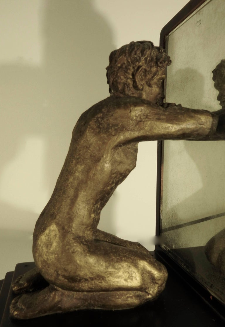 Mid-20th Century Kneeling Men on Wooden Bookends with Mirrors For Sale 4