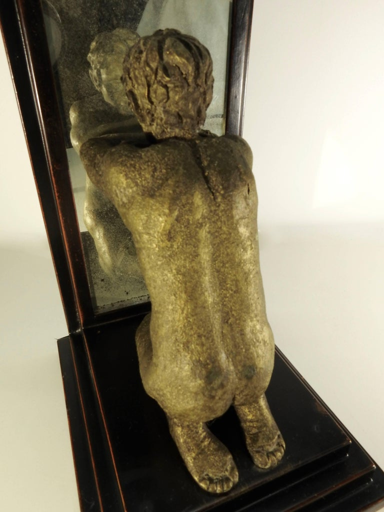 Hand-Crafted Mid-20th Century Kneeling Men on Wooden Bookends with Mirrors For Sale
