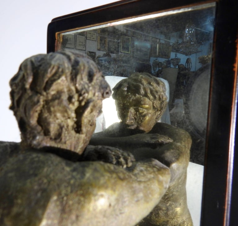 Mid-20th Century Kneeling Men on Wooden Bookends with Mirrors For Sale 3