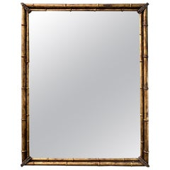 Mid-20th Century Labarge Gilt Metal Faux Bamboo Mirror
