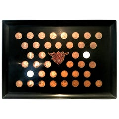 Mid-20th Century Large Black Lacquer Presidential Coin Inlay Tray by Couroc