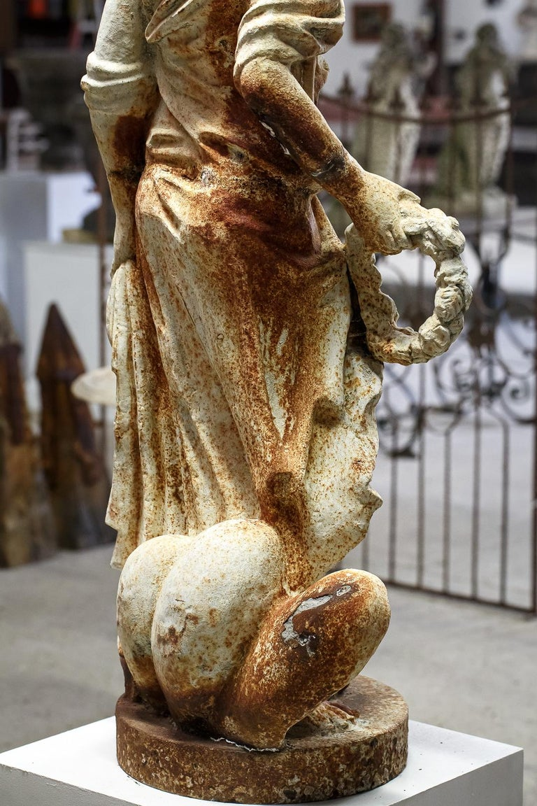 Mid-20th Century Large Cast Iron Maiden Statue For Sale 10