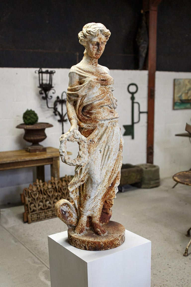 French Mid-20th Century Large Cast Iron Maiden Statue For Sale