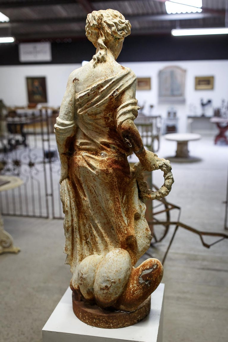 Mid-20th Century Large Cast Iron Maiden Statue For Sale 1