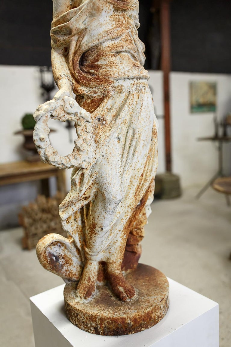 Mid-20th Century Large Cast Iron Maiden Statue For Sale 2