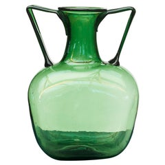Mid-20th Century Large Green Hand Blown Glass Vase with Handles