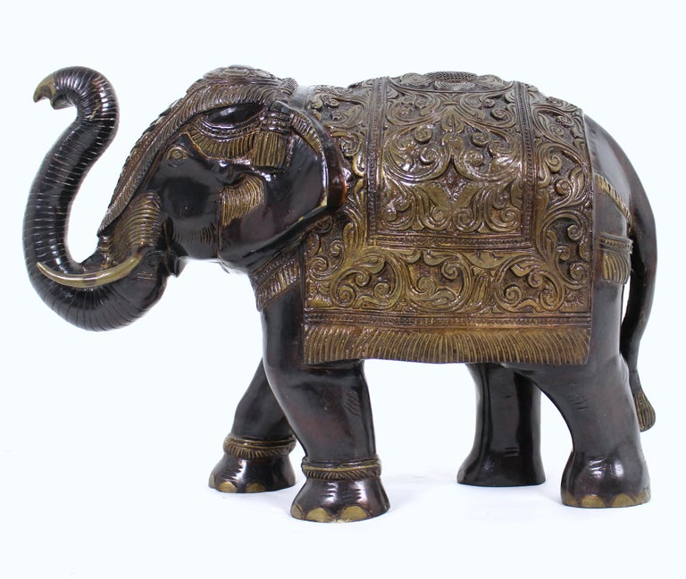 Mid-20th Century Large Indian Bronze Elephant For Sale 5
