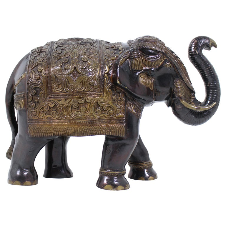 Mid-20th Century Large Indian Bronze Elephant For Sale