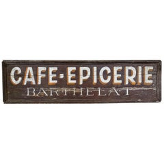 Mid-20th Century Large Original Cafe Epicerie Sign