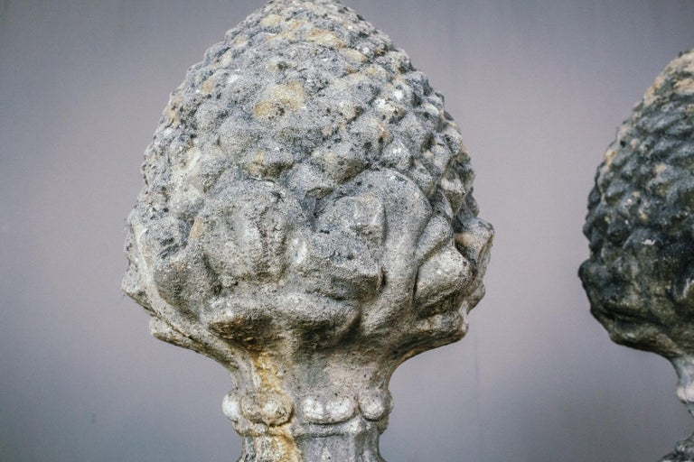 Mid-20th Century Large Pair of Weathered Acorn Finials 2