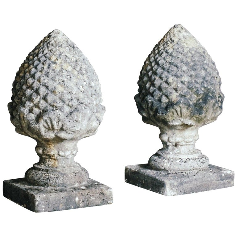 Mid-20th Century Large Pair of Weathered Acorn Finials