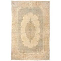 Mid-20th Century Large Persian Kerman Carpet, Soft Tones, Center Medallion