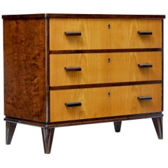 Mid-20th Century Late Art Deco Swedish Birch and Elm Chest of Drawers