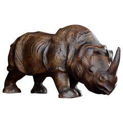 Mid-20th Century Leather Rhino Footstool