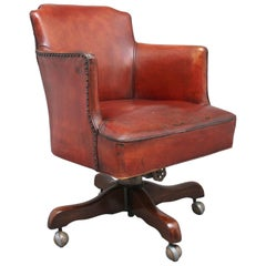 Mid-20th Century Leather Swivel Desk Chair