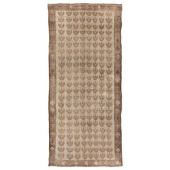 Mid-20th Century Light Brown Oushak Gallery Rug with All-Over Field
