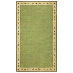 Mid-20th Century Light Green Swedish Flat-Woven Rug