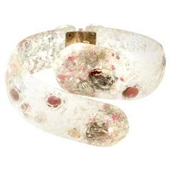 Mid-20th Century Lucite & Shell Confetti Clamper Bracelet