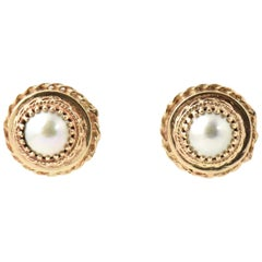 Mid-20th Century Mabe Pearl Yellow Gold Earrings