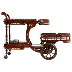 Mid-20th Century Mahogany Inlaid Top Bar Cart