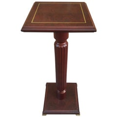 Mid-20th Century Mahogany Wood Square Top Pedestal Table