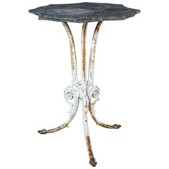 Mid-20th Century Marble and Iron Bistro Table
