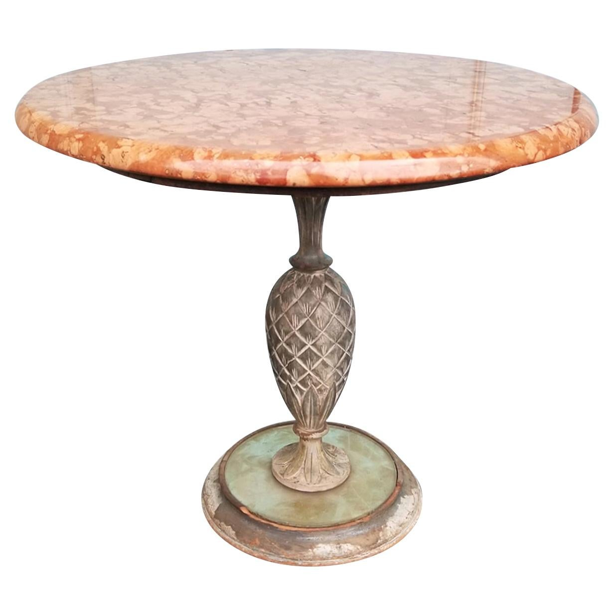 Mid-20th Century Marble-Top Table with Iron Pineapple Pedestal Base