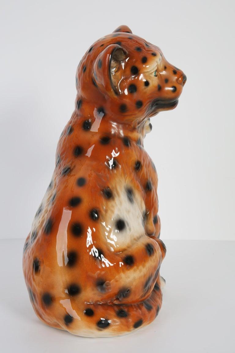 Mid 20th Century Medium Ceramic Leopard Decorative Sculpture, Italy, 1960s For Sale 6