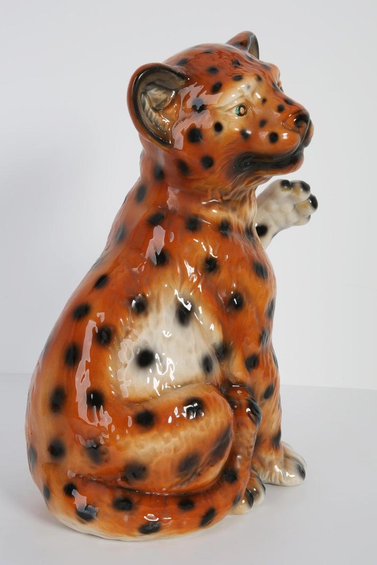 Mid 20th Century Medium Ceramic Leopard Decorative Sculpture, Italy, 1960s For Sale 7